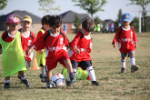 Toddlers playing soccer during Sportball class.